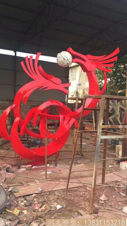 不锈钢喷漆二龙戏珠雕塑